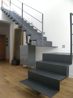 Folding staircase made of 8 mm thick steel with a sharp-edged .- Folding staircase made of 8 mm thick steel with a sharp edge. Stairs To Heaven, Steel Stairs, Brick Texture, Modern Stairs, Old Factory, Attic Remodel, Small Windows, Stair Railing, Staircase Design