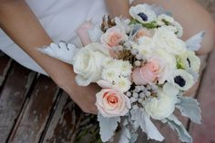 Lush Blush is a seasonal DIY wedding flower package. Trust blush roses, white roses, anemones, silver brunia, and dusty miller.