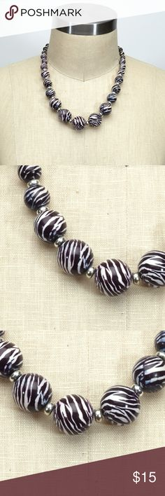 Selling this zebra printed beaded necklace on Poshmark! My username is: fancyballer. #shopmycloset #poshmark #fashion #shopping #style #forsale #Jewelry