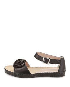 Zoey Rose Flat Leather Sandal, Black