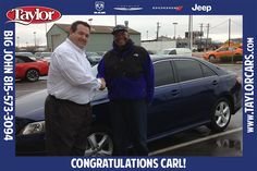 Carl bought his Toyota Camry from Big John Crawford and took it home as a birthday present for his wife! We think he gets the Husband of the Year Award for that gift! Thanks again, Carl. We hope you and your wife are enjoying the car.
