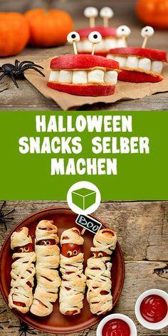 Hier findest Du einfache und unglaublich schaurige Snacks für Deine Halloween Party. Ob Mumien Würstchen, Gebisse oder Gruselburger. So wird Deine Halloweenparty ein Megahit #halloween #snacks #gruselig #partysnacks #geister