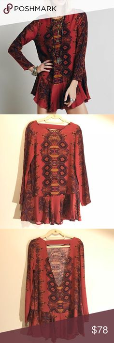 Free People Smooth Talker Tunic Free People Smooth Talker Tunic Dress — Color: Copper Combo (Burgundy) — Size: Small — Low V Open Back — Long Flare Sleeve + Ruffle Hem — Tags: hippie, boho, bohemian, earthy, chill, trendy, chic, mandala, maroon Free People Dresses Mini