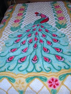 Vintage Chenille Single Peacock Bedspread