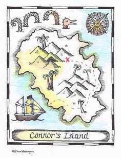 I <3 PAINTANDINK! HideYourOwn Treasure Pirate Map Coloring Page  by paintandink, $2.99