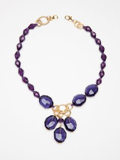 Doncaster Faceted Amethyst Colored Glass Bead Necklace with Dangling Cluster - my Love won for me on silent auction today!