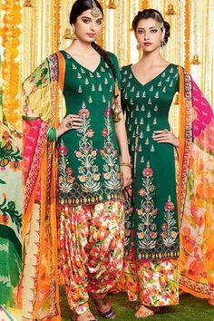 Green & MultiColor Cotton Satin Print UnStitch Punjabi Suit