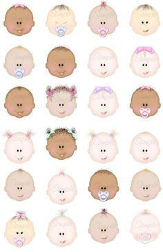 Baby Faces - $8.99 : Delightful-Doodles Designs!, Baby graphis ,wedding graphics, and printables including bags, purses and boxes for crafters, scrapbookers, candy wrappers and creative folks.