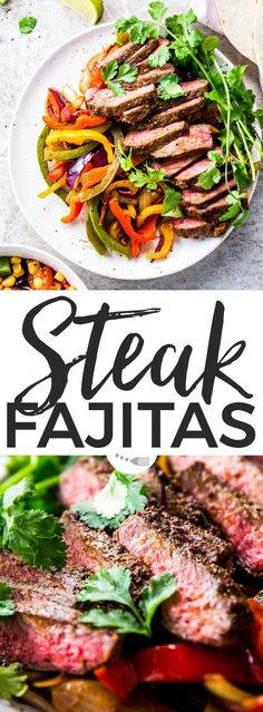 These zingy Steak Fajitas are all of your easy dinner dreams come true! Marinated in a simple yet delicious fajita spice mix, then quickly seared for medium-rare perfection - the flavour in these is unbelievable! You can even make the meat on the grill/BBQ in the summer! These are the BEST!   #recipes #easyrecipes #easydinner #dinner #beef #beefrecipes #steak #steakrecipes