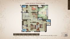 4 BHK Garden Duplexes Floor Plan Properties in Pune - Westernhills, Baner. A 40 acres Gated Community by Atul Enterprises Layout of 4 BHK