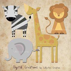 Safari Animal Digital Clip Art Set - Lion, Giraffe, Elephant and Zebra