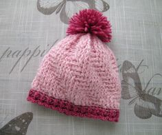 Handmade Baby girls HAT, fancy pattern hat for Newborn Girl, NEWBORN - 6 Months, hand-knitted pink and red hat with pom pom by ramutez on Etsy