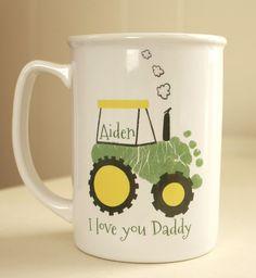 Your child's footprints! Perfect Grandpa and Daddy christmas gift, baby footprint art, baby first christmas, Tractor Footprint Mug 102_mug