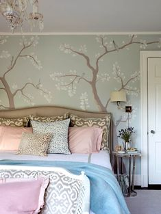 pale cherry tree wallpaper in muted colors bedroom Plaid Wallpaper, Bold Wallpaper, Chinoiserie Wallpaper, Temporary Wallpaper, Tree Wallpaper, Beautiful Wallpaper, Let's Go To Bed, Designer Wallpaper, Wallpaper Designs
