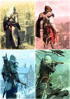 BF] Altaïr Ibn-La'Ahad, Ezio Auditore da Firenze, Connor Kenway, and Edward Kenway The Assassin, Assassins Creed Ii, Playstation, Xbox, Star Citizen, Geeks, Assasins Cred, Assassin's Creed Videos, Connor Kenway