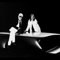 """Hadid and Lagerfeld """"I'm into fashion because it contains the mood of the day, of the moment - like music, literature, and art."""" - Zaha Hadid"""