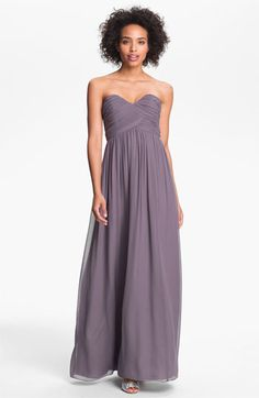 "Donna Morgan 'Laura' Ruched Sweetheart Silk Chiffon Gown | Nordstrom in ""grey ridge"""