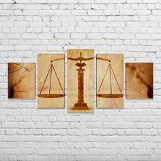 Quadro Escritório Advocacia Direito Advogado Balança Justiça 5 peças 2
