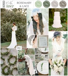 Board#287: Rosemary & Lace: Photos from top left; Bride: Tec Petaja, Veil & Juliet Cap: Emily Rose Riggs (photo by CocoTran), Cake: Joy Thigpen (photo by KT Merry), Bride: Brumley & Wells, Bouquet: Munster Rose (photo by Geneoh), Tablesetting: Styled by Joy Thigpen (photo by Jose Villa), Veil on chair: Styled by Pearl & Godiva, photo by Feather & Stone Calligraphy | Feast, Veil | Viera Photographics - via Magnolia Rouge