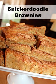 Amazing snickerdoodle brownies recipe!  Made these last night - house smelled great!  Brownie texture is fabulously, chewy, perfect!  Next time I'm adding cinnamon to the brownie batter as well as sprinkling on top!
