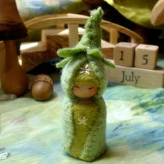 Little Bean Gnome reserved Waldorf Dollhouse Doll Natural Play by Paintingpixie