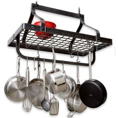 Expand your kitchen storage with our Enclume gourmet hammered steel pot rack. Enclume combines traditional craftsmanship with function for timeless style. Small Kitchen Set, Smart Kitchen, Pot Rack Hanging, Hanging Pots, Kitchen Storage Solutions, Kitchen Organization, Pot Storage, Built In Ovens, Custom Kitchens