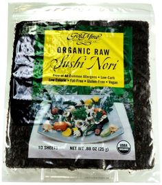 Gold Mine Organic Raw Sushi Nori, 10 Sheet, Ounce * Discover this special item, click the image : Fresh Groceries Gourmet Recipes, Snack Recipes, Snacks, Raw Sushi, Gold Mine, Organic Vegetables, Vitamins And Minerals, Japanese Food, Vegan Gluten Free