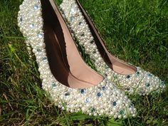 Custom Stunning Pearl shoes with Crystal by Itsinitiallyyours, $95.00