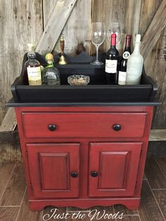 Primitive vintage dry sink hand painted red and black by Just the Woods.  Get this look using Razor back red over Derby
