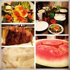 Roast Pork, Mashed potatoes, salad, watermelon #SundaySupper @tampamama