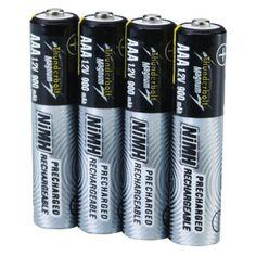 Vivitar - 4PK AAA NIMH 900MAH Rechargeable Batteries