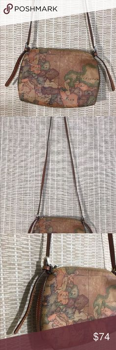 "Alberto martini Women's crossbody purse BRAND:     ALVERO MARTINI  CONDITION:     GUC, with minor wear on top corners  COLOR:     TAN   MATERIALS:      LEATHER   SIZE:     S/M  FEATURES:    WORLD MAP PRINT,  22"" - 25"" STRAP DROP, LIGHT WEIGHT, GREAT CONDITION ON INSIDE Alvero Martini Bags Crossbody Bags"