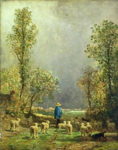 Sheep watching a Storm by Constant-Emile Troyon  Discover the coolest shows in New York at www.artexperience...