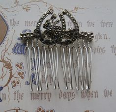 Vintage Marcasite Hair Comb, Silver Tone Lucky Horseshoe & Clover- Wedding, Bridal, Prom Hair Accessories by UniqueHairCombs on Etsy