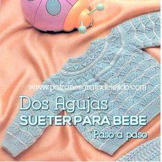 Patrones y tutoriales de tejido crochet y dos agujas gratis para descargar Baby Cardigan, Baby Pullover, Baby Blanket Crochet, Crochet Baby, Knit Crochet, Knitting For Kids, Baby Knitting, Baby Jessica, Princesa Charlotte
