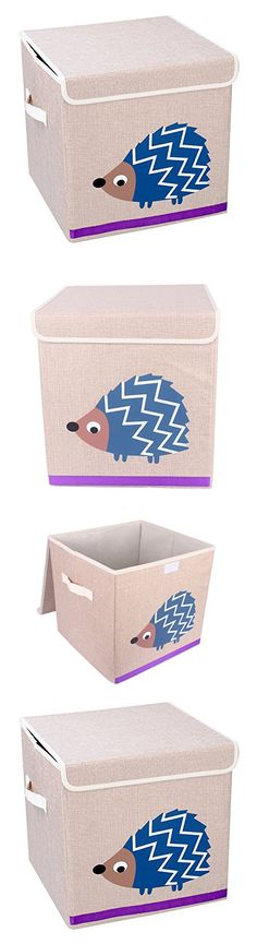 Large Foldable Cube Storage Bin Box Toy Organizer for Kids-Toy Basket with Cover for Kids Toys, Baby Clothing, Children Books, Gift Baskets, Hedgehog