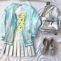 ♡ ƑASHiON ♡ holographic - iridescent - sheer bomber jacket - pikachu t-shirt - pleated skirt - backpack - creepers - colorful - jfashion - anime - cute - kawaii Harajuku Mode, Harajuku Fashion, Kawaii Fashion, Cute Fashion, Girl Fashion, Womens Fashion, Fashion Styles, Japanese Fashion, Korean Fashion