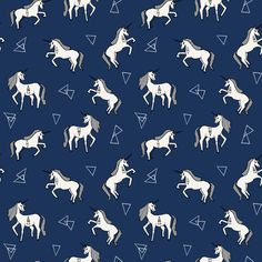 Unicorn Love - Navy background by Andrea Lauren fabric by andrea_lauren on Spoonflower - custom fabric