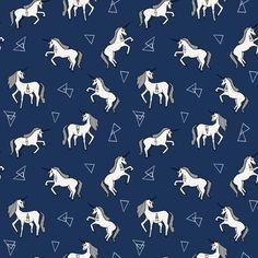 Unicorn Love - Navy background by Andrea Lauren fabric by andrea_lauren on Spoonflower - custom fabric