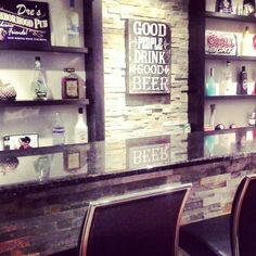 Basement Bar...♥ I like the open shelves in the back and the bar itself