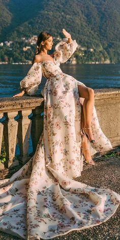 36 Ultra-Pretty Floral Wedding Dresses For Brides ❤ floral wedding dresses off the shoulder sleeves watercolor monique lhuiller Fairy Wedding Dress, Best Wedding Dresses, Unique Dresses, Lovely Dresses, Wedding Gowns, Wedding Bride, Pirate Wedding Dress, Mermaid Wedding, Moda Floral