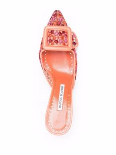 Shop Manolo Blahnik Maysale leather mules with Express Delivery - FARFETCH Leather Mules, Pink Leather, Manolo Blahnik, Heeled Mules, High Heels, Delivery, Sandals, Shopping, Shoes