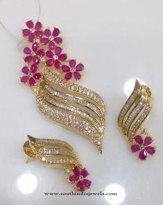 American Diamond Pendant Designs, Gold Plated AD Pendant Designs, Indian AD Pendant Designs