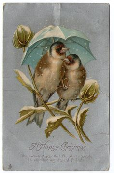 Attractive Christmas postcard in the style of Beatrix Potter c1905