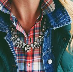Stunning necklace w/hunter green jacket and jean vest and men's button down...pure perfection!!!