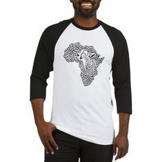 Africa in a cheetah camouflage Baseball Jersey on CafePress.com