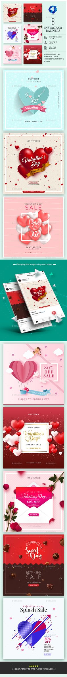Valentine's Day Instagram Banners - Banners & Ads Web Elements