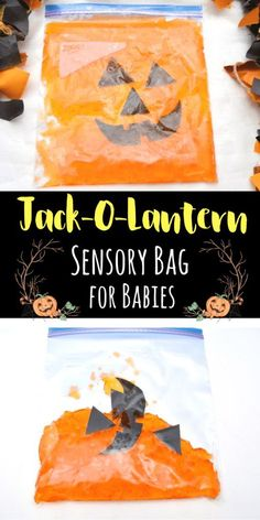 This jack-o-lantern sensory bag for babies is the perfect way to engage young kids in sensory play for Halloween and the Fall. This jack-o-lantern sensory bag for babies is the perfect way to engage young kids in sensory play for Halloween and the Fall. Dulceros Halloween, Halloween Arts And Crafts, Halloween Party Supplies, Fall Preschool, Preschool Activities, Toddler Halloween Activities, Autumn Activities For Babies, Fall Toddler Crafts, Preschool Learning