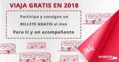 AvanzaBus e ISIC sortean un billete para que viajes  gratis durante todo el 2018 (un viaje/uso por mes) para ti y un acompañante!!