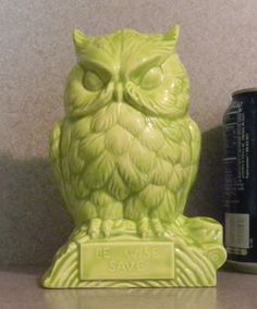 Ceramic-owl-neon-green-vintage-ceramic